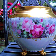 "Spectacular B & Co. France Limoges 1900's Hand Painted Vibrant ""Red, Pink, & White Roses"""