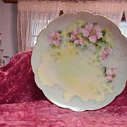 "Alluring Limoges Vintage 1900 HP ""Country Roses"" 9-1/4"" Soft Blue Plate"