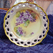 "Exceptional Vintage HP Bavaria ""Violets"" 8-1/2"" Cut Out Mold Plate ARTIST SIGNE"