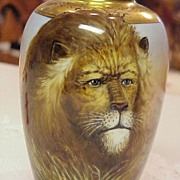 "SALE RARE HP 1900 ""Lion"" Portrait  7"" Vase by J.H. Stouffer Co. ""Wenzel Pf"