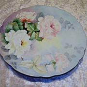 "Superb Vintage Hand Painted Bavaria 1910 ""Pink & White Roses"" 12-3/8"" Plate by"