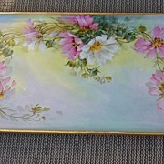 "SALE Beautiful Vintage Czechoslovakia 1900 Hand Painted ""Wild Daisy"" 15-5/8"" Tr"