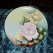 "Vintage 1900's D'Arcy's Studios on Haviland ""Pink & Yellow Roses"" 9-1/2 ..."