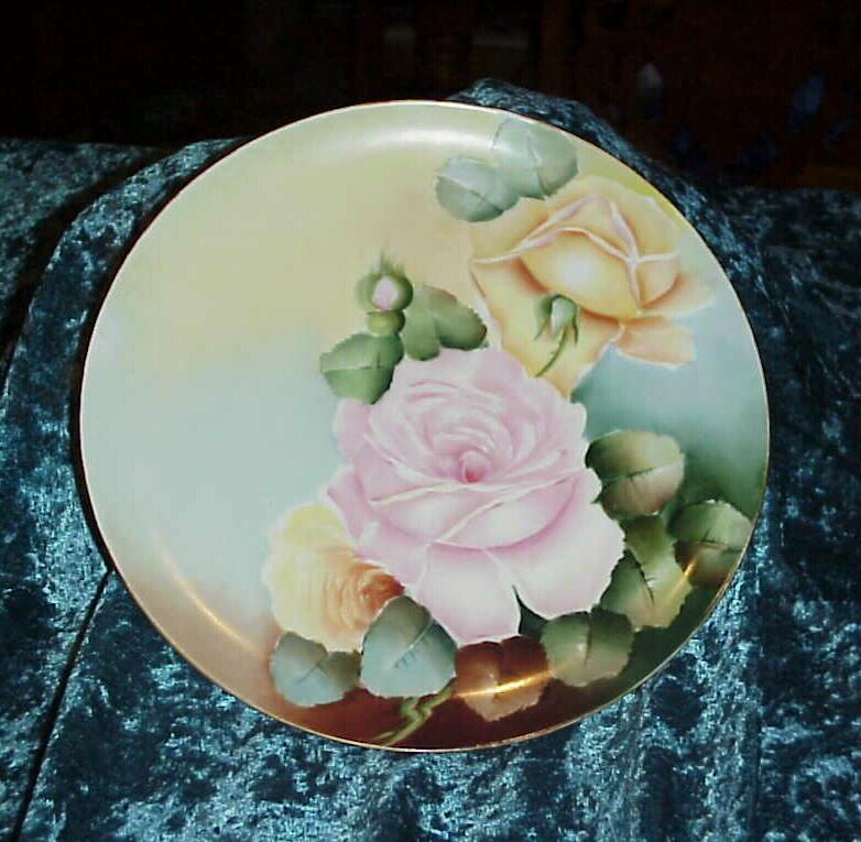 Vintage 1900's D'Arcy's Studios on Haviland &quot;Pink & Yellow Roses&quot; 9-1/2&quot; Plate