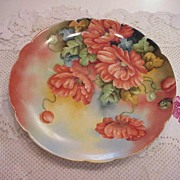 "Stunning Limoges 1900's Hand Painted ""Large Deep Burnt Orange Poppies"" 8-7/8"" P"