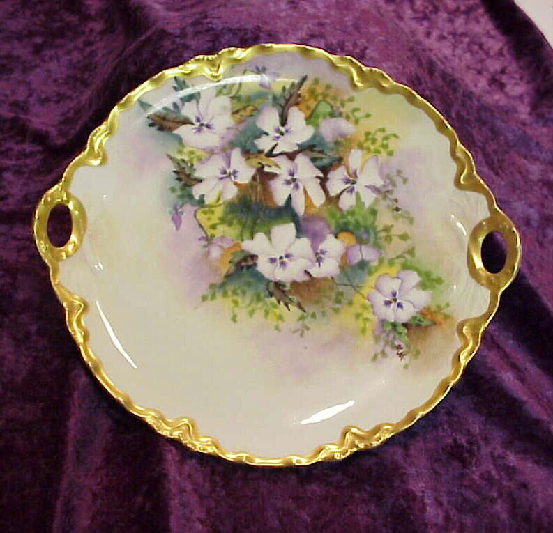 Gorgeous Haviland France 1900's Hand Painted &quot;Lavender & White Pansy&quot; 10-3/4&quot; Plate by Artist &quot;M.M.&quot;
