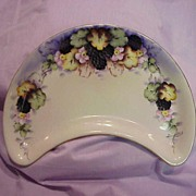 "Wonderful Limoges Vintage 1900's Hand Painted ""Blackberry"" Crescent 9-1/2"" Dish"