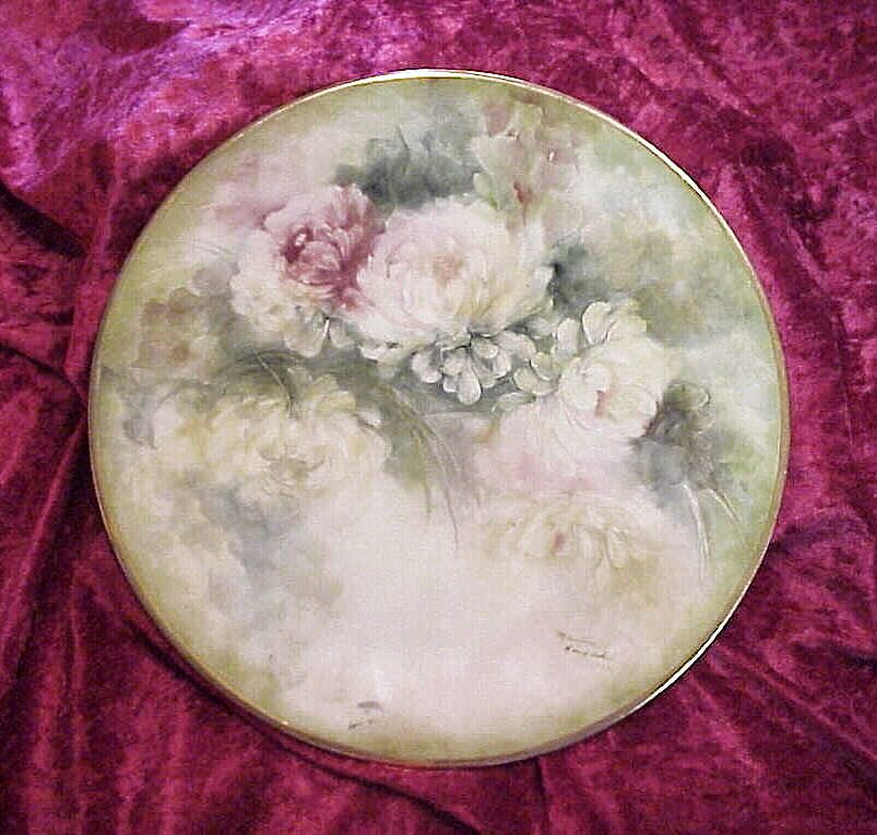 "Outstanding Hand Painted Water Color Effect ""Mums"" 10-3/8"" Plate by the Artist, ""Marilyn Lang Acker"""