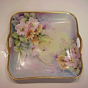 "Exquisite Bavaria Hand Painted 1920's ""Wild Roses & Daisies"" Open Handle Rectangular"