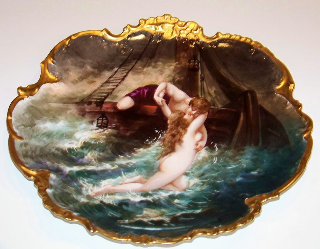Outstanding Vintage 1900's Limoges, France &quot;Sailor Rescuing Nude&quot; 12-1/2&quot; Charger by Artist, &quot;Dubois&quot;