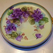"Attractive & Colorful Royal Bavaria Hand Painted ""Violets"" 2-Looped Handle 8-3/4"""