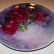 "Superb Colors Vintage 1900's Royal Austria Hand Painted ""Deep Red Roses"" 11-3/8"""
