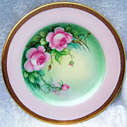 "Gorgeous 1900's Hand Painted ""Pink Roses"" 8-1/4"" Plate by Pickard Artist """