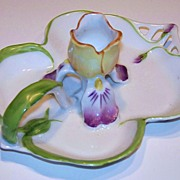 "Royal Bayreuth 1900 ""Pansy"" Art Nouveau Chamberstick Candle Holder"