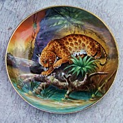 "Rare 1900's White's Art Co. of Chicago Hand Painted ""Wild Jaguar"" in the Jungle 10-1"