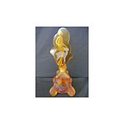 Czech Hoffman Intaglio Diana Huntress Amber Perfume Bottle