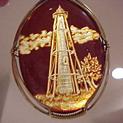 Carved Amber Pendant: Boca Grande Florida Lighthouse
