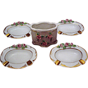 Dresden Porcelain Smoke Set ~Applied Roses~ 5 Pieces