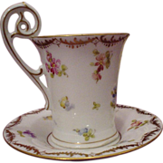 Outstanding Dresden Richard Klemm Demi Cup and Saucer
