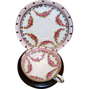 Fantastic~ Rose Garland Demitasse Cup & Saucer~ Footed