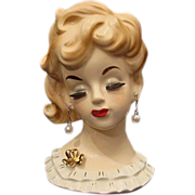 "Stylishly Chic 6"" Napco Lady Head Vase # 5939 Heavy Lashes Light Hair White Dress"