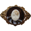 Edwardian Art Nouveau Cameo Brooch In Ornate Brass Mount
