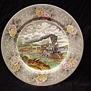 Impressive Adams Pottery Currier Train Plate~ Engravings For The People Series