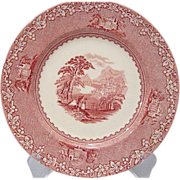 Jenny Lind Red/Pink Transfer 6 1/2&quot; Desert Plate  Royal Staffordshire
