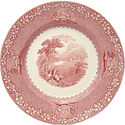 Jenny Lind Red/Pink Transfer 10&quot; Dinner Plate  Royal Staffordshire