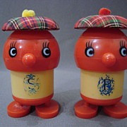 1950's Eames Era Plastic Whimsical Salt & Pepper Shakers