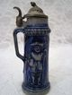 "3 1/4"" Miniature Stoneware German Beer Stein Cobalt Blue"