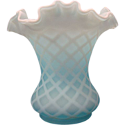 Fine Cased Satin Glass Vase ~ Diamond Quilted Pattern~ Ruffle Top