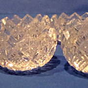 6 American Brilliant Cut Glass individual open salt dishes