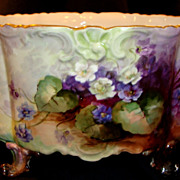SOLD D & C France Limoges handpainted  large oval footed  centerpiece bowl
