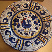 "SOLD Deruta Italian Majolica pottery 11"" Plate with Rooster and flowers"