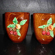 Vintage Identical Pair Italy Majolica Barbotine Applied Fruit Vases
