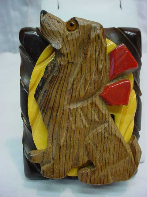 Assembled Vintage Bakelite Carved Wood Spaniel Dog Pin