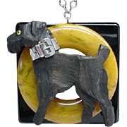 Vintage Assembled Bakelite and Sterling Silver Dog Necklace