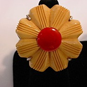 Assembled Sterling Vintage Bakelite Daisy Flower Ring