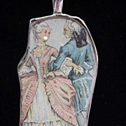 Assembled Sterling 1800's Figural Couple Print Necklace