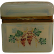Antique Hand Painted Opaline Crystal Glass Brass Casket Box