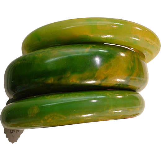 Three Hefty Vintage Green Yellow Bakelite Bangle