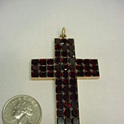 Large Georgian Garnet 10k Gold Cross