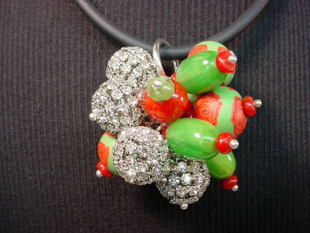 Rose Hand Rolled Clay with Swarovski Crystal Bakelite Cluster Necklace