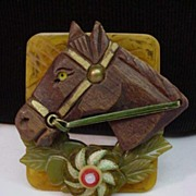 Assembled Vintage Bakelite Hand Carved Wood Horse Pin