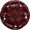 Vintage Carved Pierced Bakelite Maroon Flower Pin