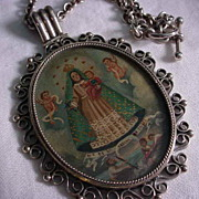 The Virgin de la Cobre the patron of Cuba Hand Made Sterling Silver Blessed Reliquary Necklace