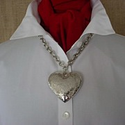 Large Hefty Hand Hammered Sterling Heart Necklace