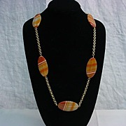 Banded Carnelian Agate on Gold Chain