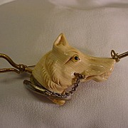 Antique Celluloid Hound Dog Brass Collar Glass Eye Pin